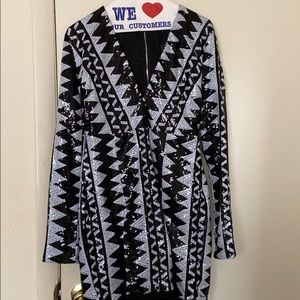 Black and white sequins dress